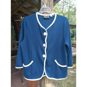 BOB MACKIE Wearable Art Navy Blue Button Cardigan